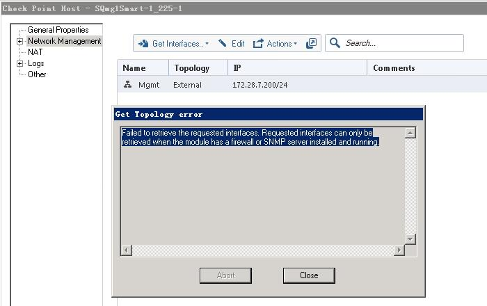 R80 10 Security Management get interfaces error from Dashboard