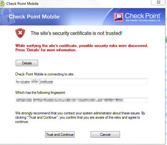 The site's security certificate is not trusted!